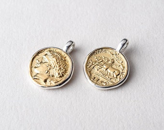 sterling silver ancient Greek coin pendant, drachma gold pendant, unisex jewelry, history gifts for her, archaeology jewelry, minimalist