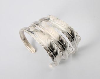 Silver Feather Bangle | Eagle Feather Bangle | Silver Cuff Bracelet | Tribal Bangle Adjustable | Open Silver Bangle | Personalized Bangle