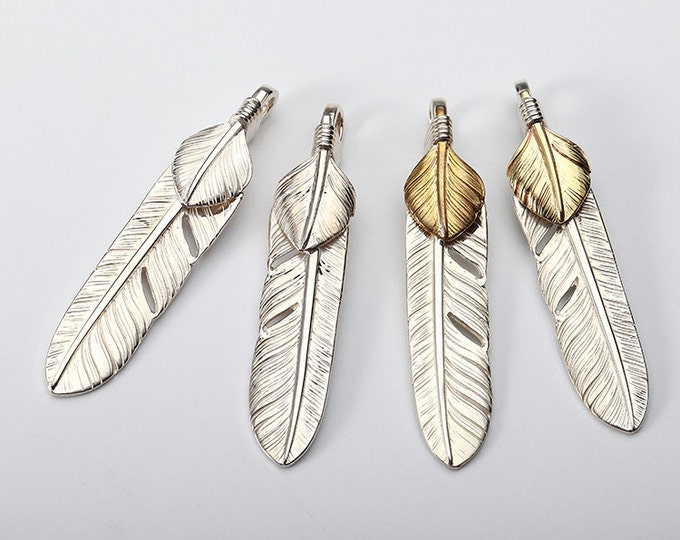 Silver Feather Pendant | Native American Inspired | Double Feather Charm | Tribal Necklace | Silver Feather Charm | Silver 18K Gold Charm