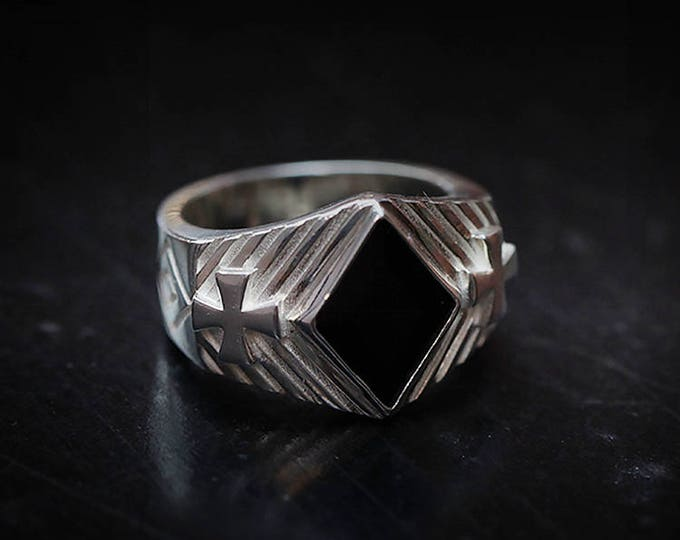 Diamond Shape Ring   Silver Diamond Ring   Black Onyx Ring Mens Gemstone  Diamond Gemstone Ring Gambling Jewelry Casino   Geometry Ring Mens