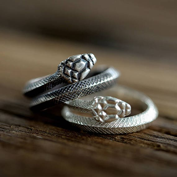 aae14d211e3f Sterling Silver Snake Ring Wrapped Serpent Ring Adjustable