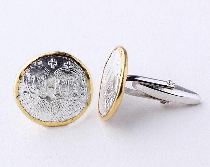 Silver Coin Cufflink | Ancient Silver Coin | Round Cufflink | Gift for Men | Gold Plated Cufflink | Coin Jewelry | Silver Gold Cufflink Mens