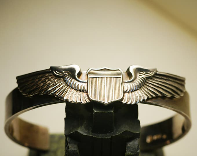 aviator wings cuff bracelet men silver bangle bracelet for women, military bracelet for men, unisex jewelry, Air Force pilot gifts, USAF mom