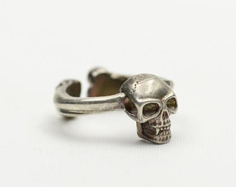 Silver Skull Ring   Skull Jewelry   Gothic Ring   Sterling Silver Ring   Human Skull Ring   Pirate Ring   Skull and Bones Ring   Punk Ring