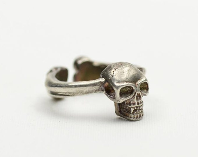 Silver Skull Ring | Skull Jewelry | Gothic Ring | Sterling Silver Ring | Human Skull Ring | Pirate Ring | Skull and Bones Ring | Punk Ring