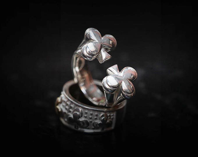 Silver Club Ring   Lucky Charm Ring   Silver Biker Ring   18K Gold Charm   Gambling Ring   Gambling Jewelry  Casino Jewelry  Mens Lucky Ring