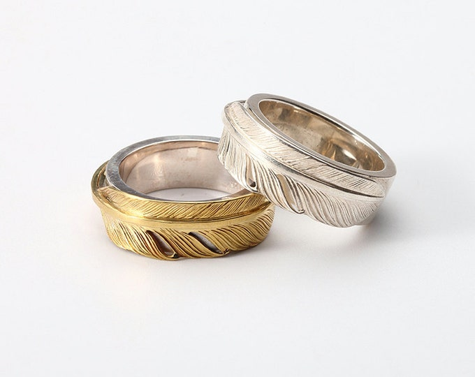 Feather Couple Ring   Silver Feather Ring   Gold Feather Band Ring   Engraved Silver Band   Bohemian Ring Tribal   18K Gold and Silver Band