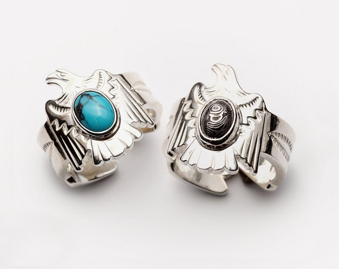 Silver Eagle Ring   Flying Bird Ring   Native American Inspired   Turquoise Ring   Silver Gemstone Ring   Adjustable Arrow Ring  Ethnic Ring