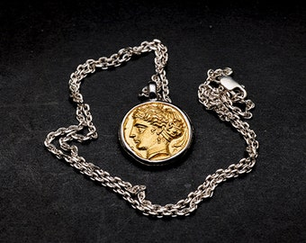 sterling silver Greek coin necklace women, ancient coins necklace, unique gifts for women, girlfriend birthday gift, history gifts for her