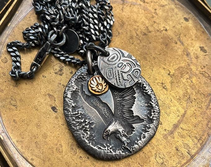 18K Gold Eagle Pendant Men | Flying Bird Pendant | Silver Hammered Pendant | Oxidized Silver Pendant Necklace |Silver Eagle Necklace Pendant