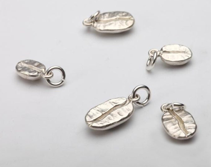 Silver Coffee Bean   925 Sterling Silver   Coffee Bean Charm   Coffee Bean Pendant   Coffee Bean Jewelry   Gift for Her  Tiny Silver Pendant