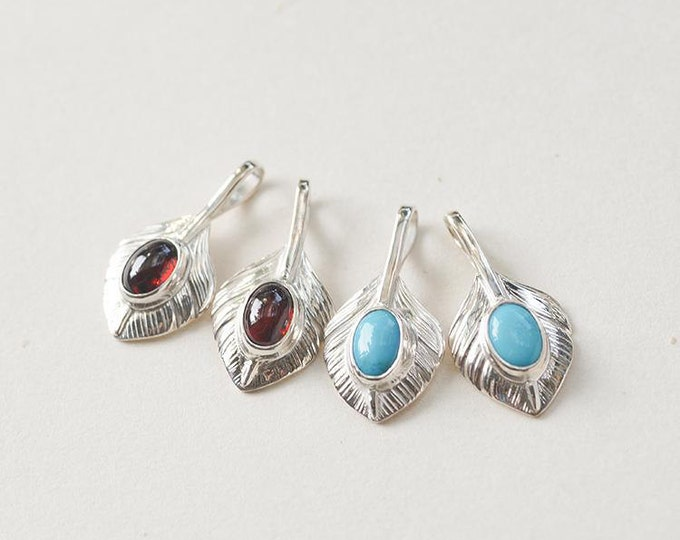 Silver Feather Pendant | Native American Inspired | Tribal Feather Charm | Feather Jewelry | Garnet/Turquoise Gemstone | Feather Necklace