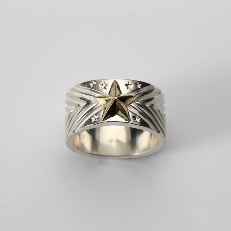 Lucky Star Ring Gift for Him Silver Engraved Ring Mens Silver Band Silver Chevron Ring Geometric Band Ring Silver Band Ring