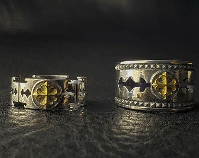 Silver Razor Blade Ring | 18K Gold Razor Rings Men | Fleur De Lis Ring | Medieval Rings For Men | Razor Blade Jewelry |Two Tone Ring For Dad