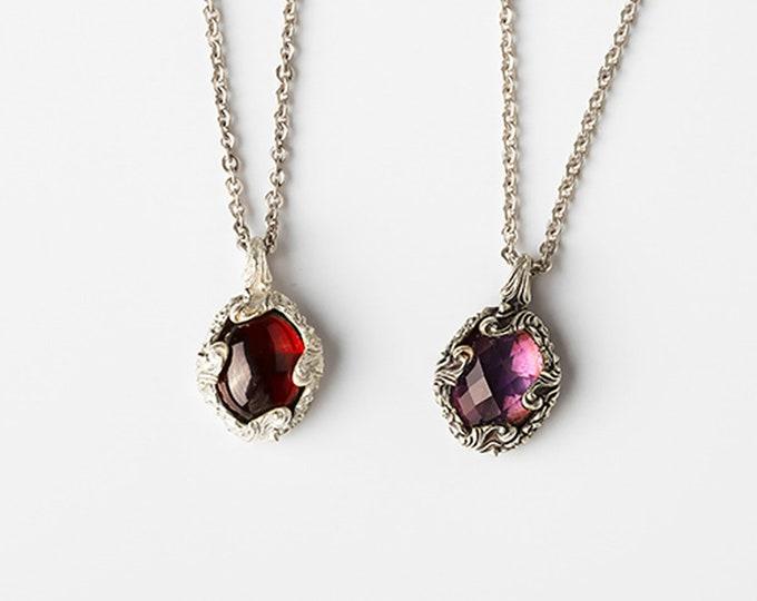 Amethyst Necklace Gift For Bride   Amethyst Necklace Gift For Wife   Baroque Necklace Women  Amethyst Pendant Necklace Garnet Pendant Silver