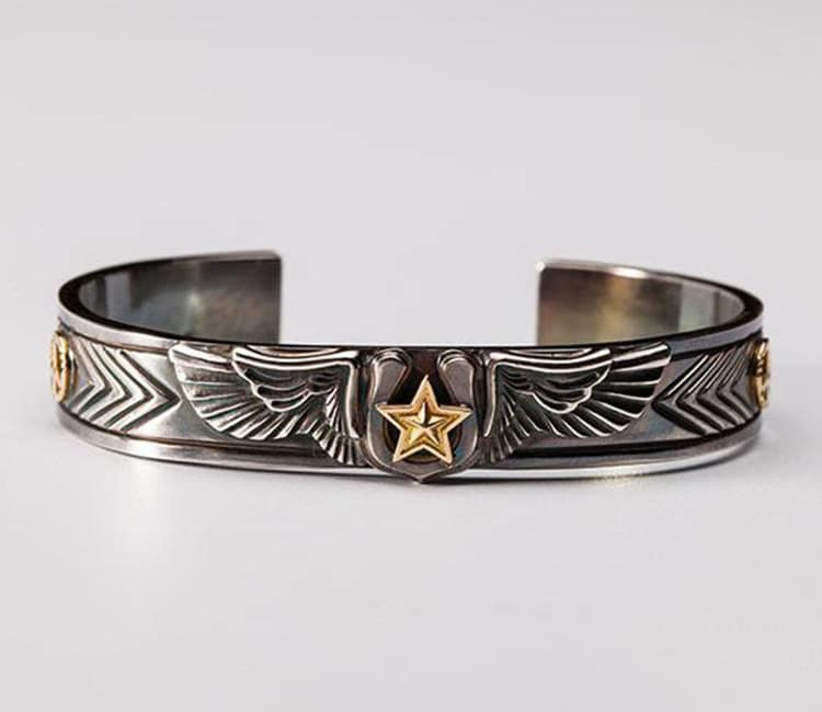 Silver Wing Bangle | Angel Wing Bracelet | Gold Star Bangle | Lucky