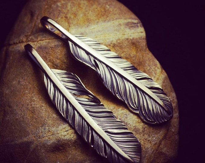 sterling silver feather pendant engraving, tribal jewelry for women, boho jewelry men, silver feather charms for necklace, eagle feather