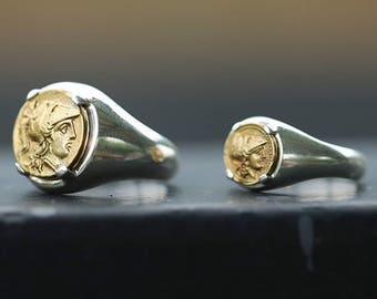 18K Gold Coin Ring   Brass Coin Ring   Ancient Greek Coin Ring   Signet Ring Women   Silver Coin Ring   Men Signet Ring   Couple Coin Rings