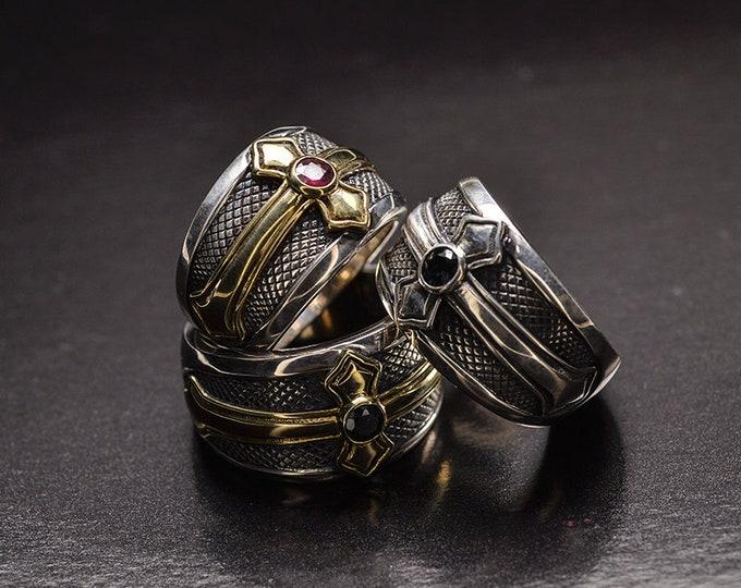 Brass Cross Ring Men   Mens Medieval Ring   Religious Ring Vintage Men   Silver King Ring   Gemstone Ring Black Onyx   Sapphire Ring Ruby