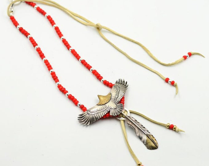 Silver Eagle Necklace   Native American Inspired   Oxidized Silver Necklace   Czech Glass Beads   Gold Silver Eagle Charm   Tribal Necklace