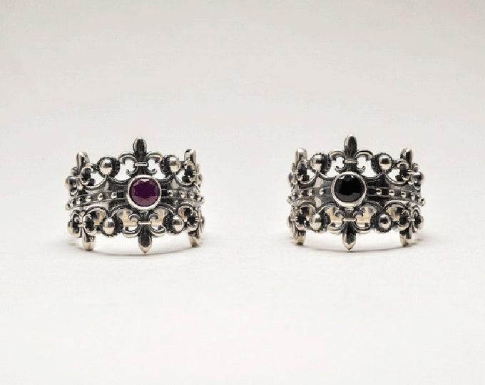 Silver Crown Ring Women | Royal Crown Ring Mens | King Ring For Men Pinky Rings | Medieval Rings Fleur-De-Lis Silver | Black Onyx Rings Ruby
