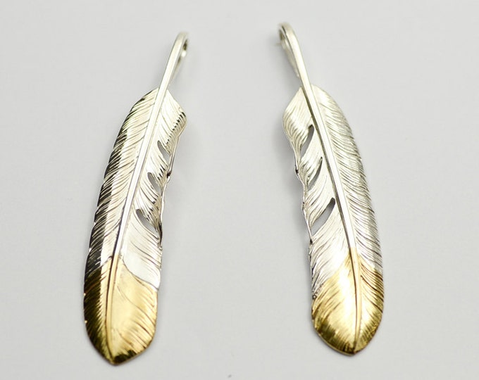 Silver Feather Pendant | Native American Inspired | Feather Necklace | Eagle Feather Charm | Silver Gold Feather Jewelry | 18K Gold Charm
