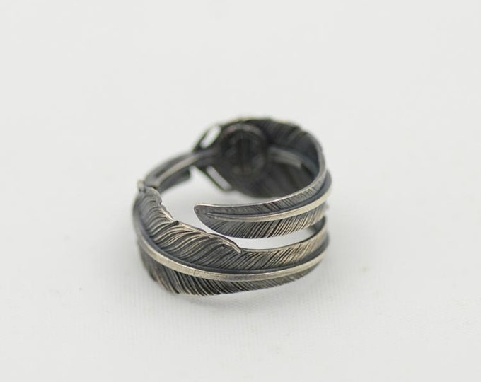 bohemian rings sterling silver feather ring, boho accessories for women, high school graduation gift for her, feather wrap ring bald eagle