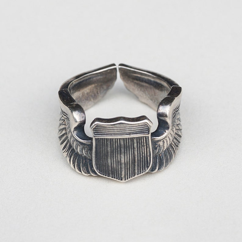 9989ef44878 WW2 Air Force Pilot Wings Ring 950 Sterling Silver USAF