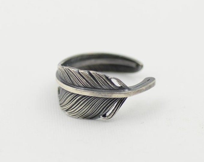 sterling silver feather ring for women, silver pinky ring women, midi ring silver, knuckle ring, silver minimalist jewelry,boho jewelry gift