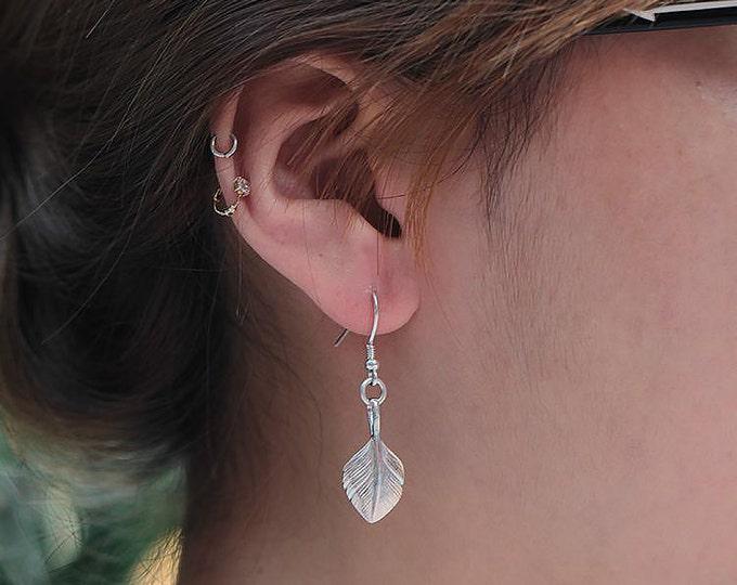 Silver Feather Earring | Native American Inspired | Palm Leaf Earring | Feather Dangle Earring | Boho Silver Earring | Tribal Style Earring