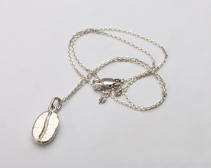 Coffee Bean Necklace   Silver Coffee Bean Pendant   Coffee Bean Charm   925 Sterling Silver Charm   Simple Silver Chain   Thin Silver Chain