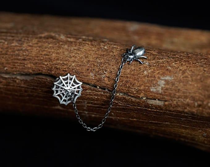 Sterling Silver Spider Earrings Stud | Spider Dangle Earrings | Spider Web Earrings Spider Net | Halloween Earrings Spooky | Spider Jewelry