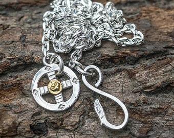 Simple Silver Chain | Eagle Charm Necklace | Plain Silver Chain | 18K Gold Charm | Sun Cross Pendant |Sun Charm Necklace |Tribal Chain Links