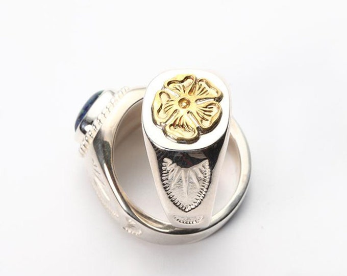 Floral Silver Ring   Gold Rose Ring   Flower Signet Ring   Native American Inspired   Index Finger Ring   Tribal Ring   Ethnic Silver Ring