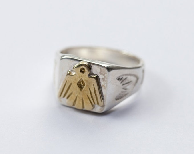 thunderbird ring for men, native america indian jewelry, tribal jewelry men, southwestern jewelry, mens signet ring silver, personalized