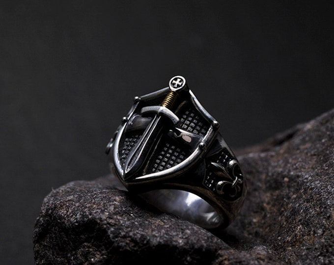 Sterling Silver Sword Ring For Men   Silver Shield Ring   Fleur De Lis Ring   Gold Dagger Ring   Men Signet Ring   Excalibur Ring For Him