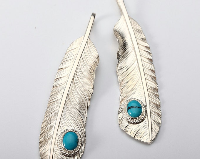 Silver Feather Pendant | Native American Inspired | Eagle Feather Charm | Turquoise Gemstone | Sterling Silver | Feather Jewelry for Her