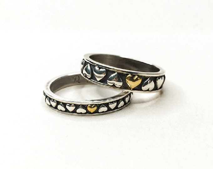 Gold Heart Ring For Women | Heart Ring Sterling Silver Stack Rings Gold | Couple Ring Set | Matching Wedding Ring | Promise Ring For Couple