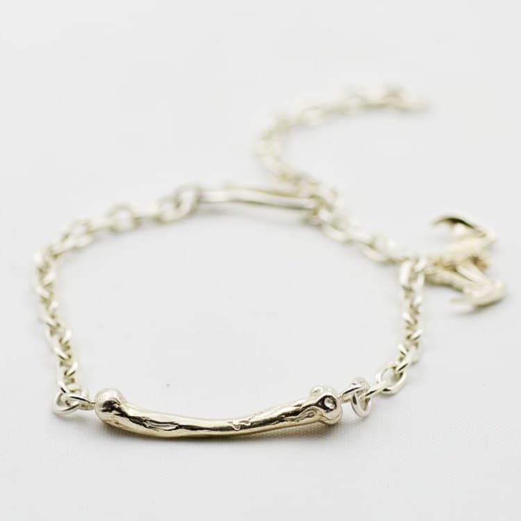 82e7ea431b24e Silver Charm Bracelet | Chain Link Bracelet | Bone Charm Bracelet ...