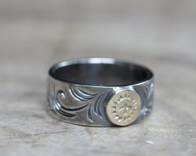Engraved Silver Band   Native American Inspired   Silver and Gold Ring   Oxidized Silver Ring   Thunderbird Ring   Personalized Ring for Men