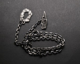 Sterling Silver Lightning Bolt Necklace | Silver Cloud Necklace For Men | Silver Chain Necklace Mens | Thunder Storm Necklace Lightning