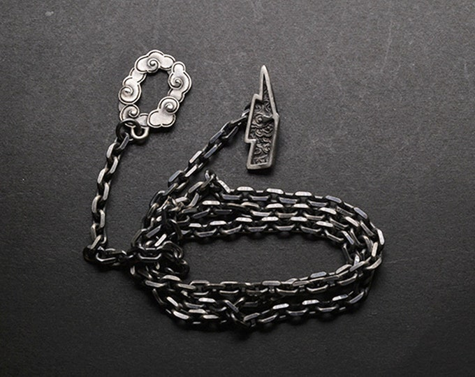 Sterling Silver Lightning Bolt Necklace   Silver Cloud Necklace For Men   Silver Chain Necklace Mens   Thunder Storm Necklace Lightning