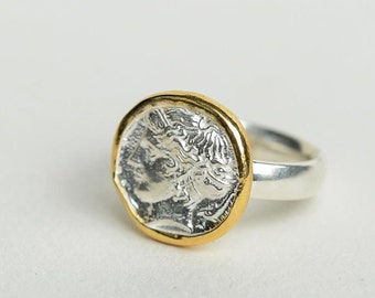 ancient Greek ring men, 24k gold ring men, mens signet ring gold, silver coin ring for women, unique gifts for her, mens pinky ring unisex