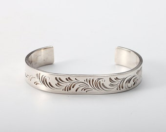 sterling silver swirl bracelet, unique cuff bracelet for women, personalized gift for her, girlfriend birthday gift, artisan jewelry, bangle