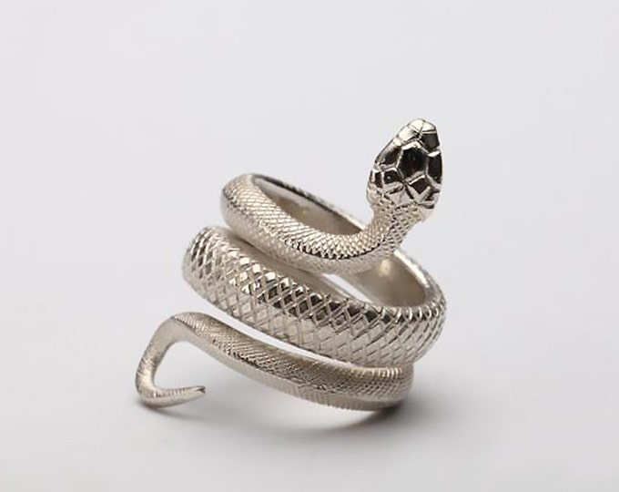sterling silver snake ring wrap ring silver, trad goth ring women, serpent ring, alternative fashion occult ring, heavy metal jewelry snake