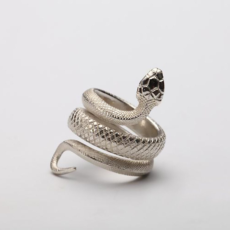 Silver Snake Ring  Viper Serpent Ring  925 Sterling -4695