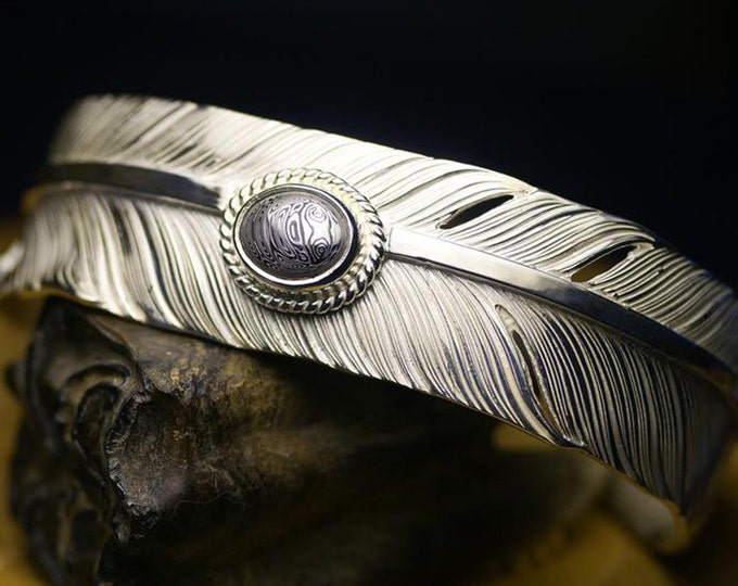 sterling silver feather cuff bracelet men, tribal jewelry for men, Damascus steel bracelet, unique gifts for him, Native Americans jewelry