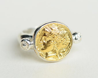 ancient Greek coins ancient jewelry replica coin ring men, signet ring gold, mens statement ring, history gifts for him, mens pinky ring