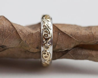 Floral Silver Ring | Silver & Gold Ring | Slim Silver Band | Floral Pattern Band | Art Nouveau Ring | Arabesque Ring | Silver Engraved Ring