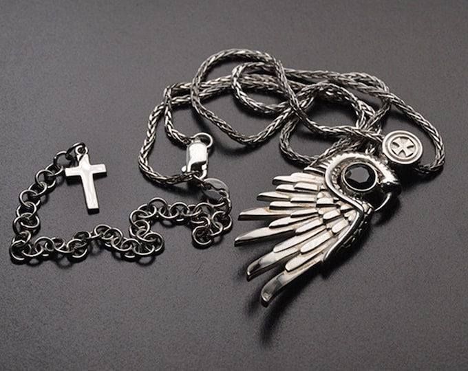 Silver Eagle Wings Necklace   Angel Wings Pendant   Eagle Claws Necklace   Silver Feather Necklace Angel Pendant   Remembrance Necklace